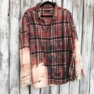 Distressed Custom bleached Flannel Shirts OOAK